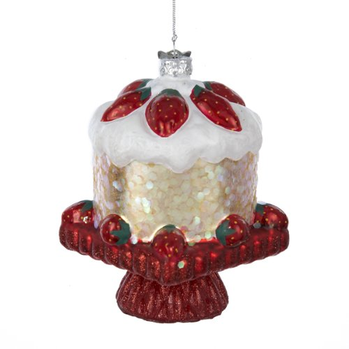 Noble Gems Glass Strawberry Shortcake Ornament, 4-Inch