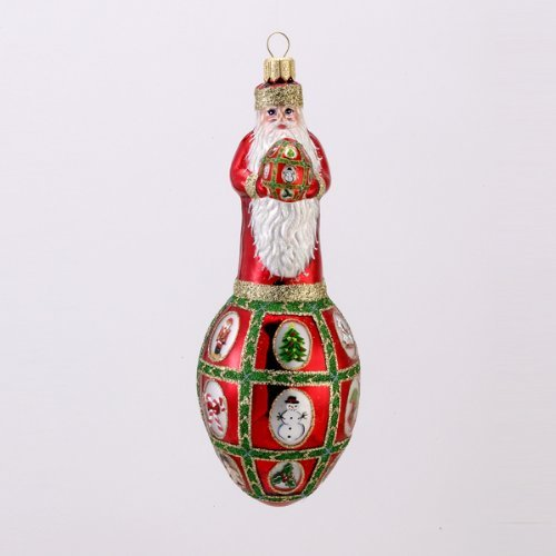 David Strand Kurt Adler Glass Faberge Santa Noel Ornament, 6.9-Inch by David Strand