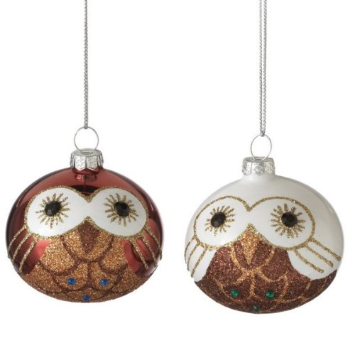 MIDWEST CBK 2.5″ Ball Owl Christmas Ornament, SET OF 2