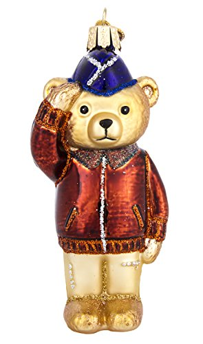 Old World Christmas Hand Blown Air Force Bear Ornament