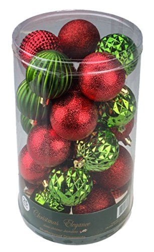 Purity Products – Red and Green Decorative Christmas 60mm Shatterproof Orbs and Ornaments 50- pack