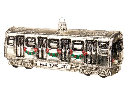 New York City Subway Car Polish Glass Christmas Ornament NYC Tree Decoration