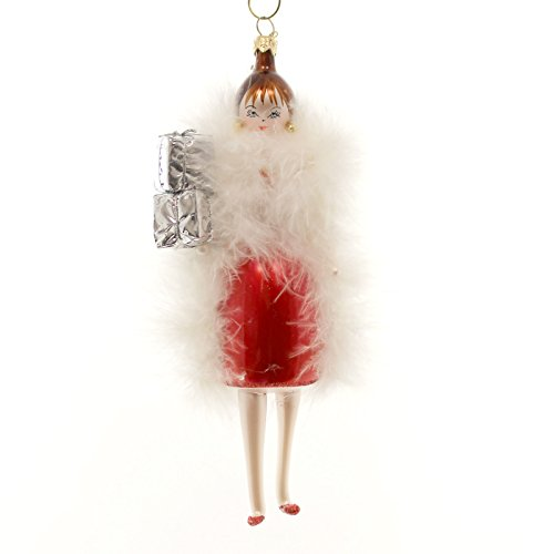 De Carlini Lady with Feather Coat Glass Ornament Italian DO7439