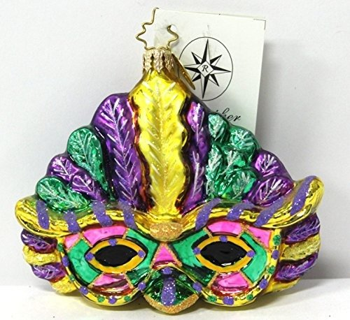 Christopher Radko Ornament Mask Mystique Mardi Gras Purple and Green