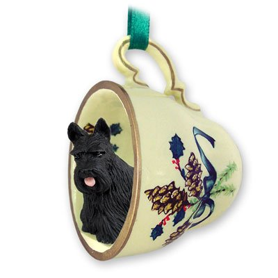 Scottish Terrier Tea Cup Green Holiday Ornament