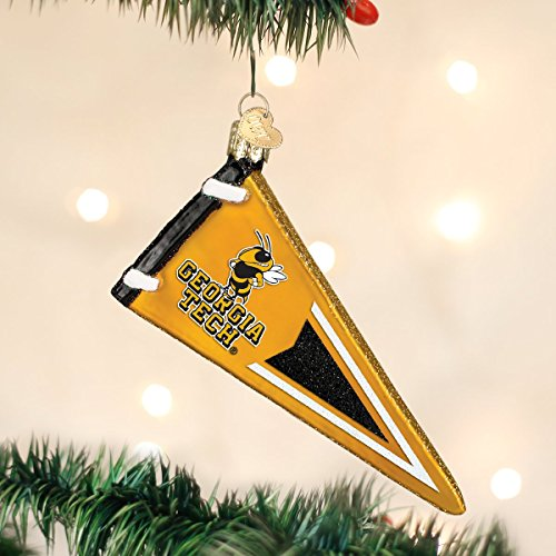 Old World Christmas Georgia Tech Pennant Glass Blown Ornament