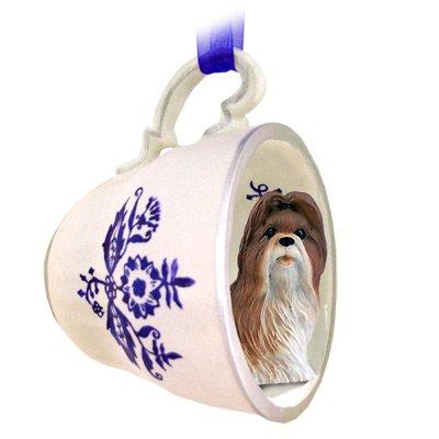 Shih Tzu Tan Tea Cup Blue Ornament