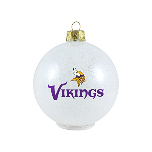 NFL Minnesota Vikings LED Color Changing Ball Ornament, 2.625″, White