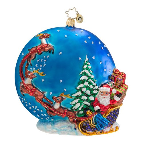Christopher Radko Glass Into the Starry Night Santa Christmas Ornament #1016615