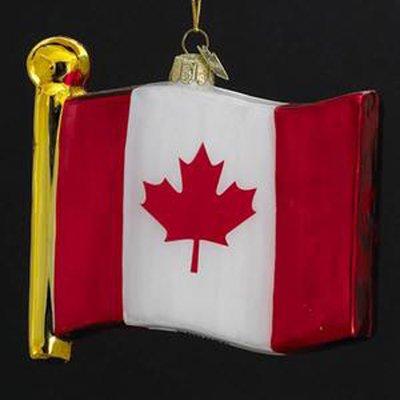 Noble Gems Glass Flag Of Canada Christmas Ornament #C4530