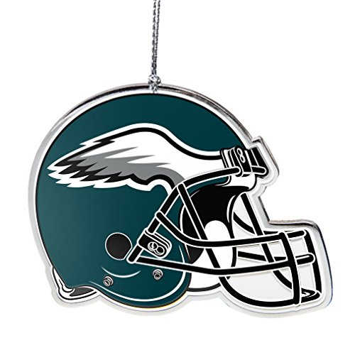 NFL Philadelphia Eagles Flat Metal Helmet Ornament, Silver, 3″ Width and 2.25″ Height