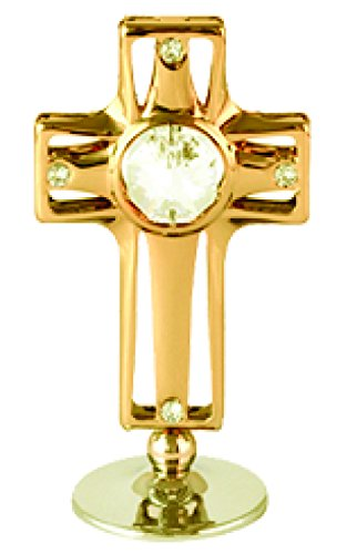 Gold Plated Corss on Stand with Clear Swarovski Element Crystal – Also Suitable for Baptism, Wedding or for All Occasions
