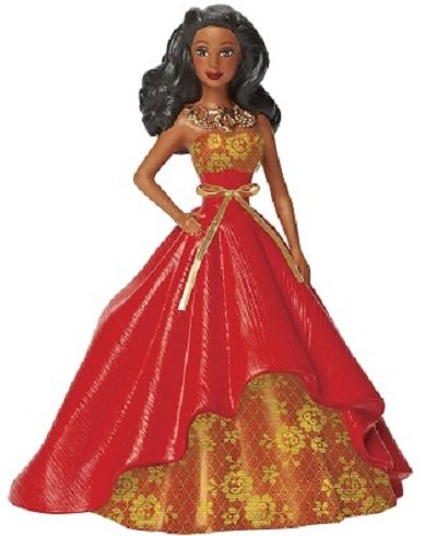 Carlton Cards Heirloom African American Holiday Barbie in Red and Gold Gown Christmas Ornament