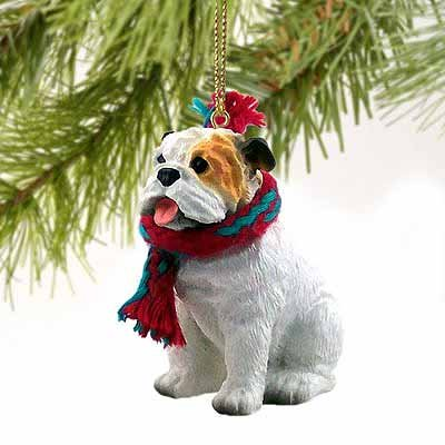 Bulldog Miniature Dog Ornament – White