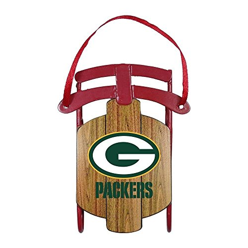 NFL Licensed Green Bay Packers Metal Sled Team Ornament
