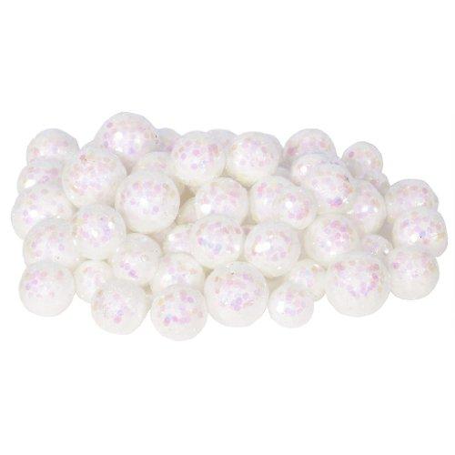 Vickerman 32947 – 20-25-30MM White Glitter Ball Christmas Ornament (68-72 pack) (L132201)