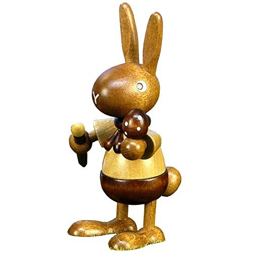 Alexander Taron Christian Ulbricht Ornament Bunny Painting Egg in Natural Wood Finish 4H x 2.25W x 2.5D by Alexander Taron