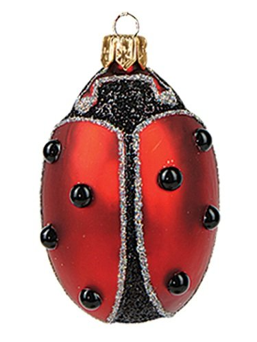 Lady Bug Polish Mouth Blown Glass Christmas Ornament Tree Decoration