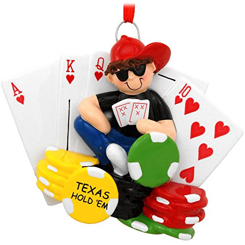 Texas Hold Em Poker Player Sitting on Large Chips and Cards Christmas Ornament