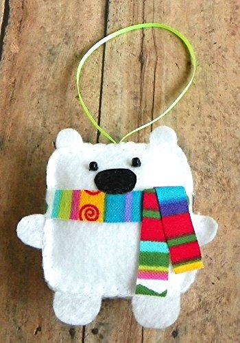Square Polar Bear Felt Ornament