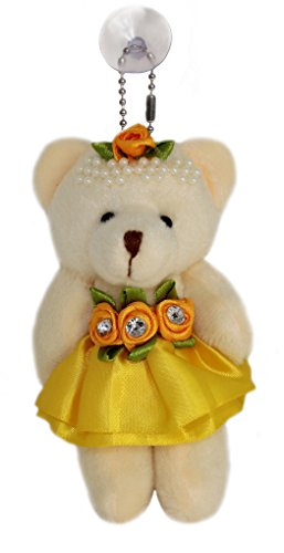 Lucore 4″ Rose & Pearl Tiara Teddy Bear Plush Toy in Satin Dress – Stuffed Animal Keychain Hanging Doll, Lucky Charm & Ornament (Gold)