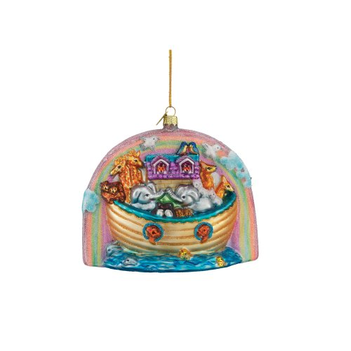 Kurt Adler 4-3/4-Inch Noble Gems Glass Noah's Ark Ornament