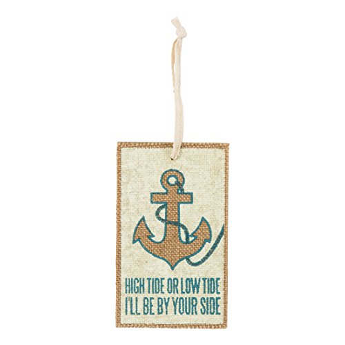 High Tide or Low Tide I'll Be By Your Side – Coastal Wood and Fabric Ornament