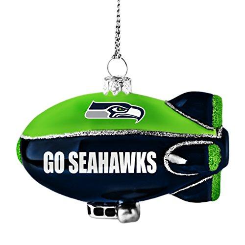 NFL Seattle Seahawks Glitter Blimp Ornament, Silver, 3″ x 2.25″