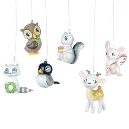 Set 6 2.5″ Woodland Creatures Cute Resin Christmas Ornament by 180 Degrees [並行輸入品]