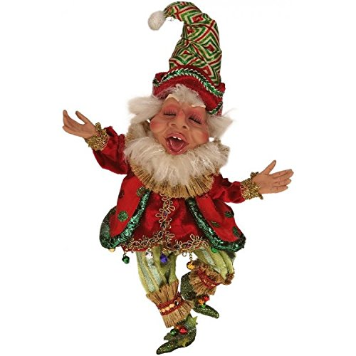 Mark Roberts Elves, Northpole Clown Elf, Small 10 Inches Packaged with an Official Mark Robert Gift Bag