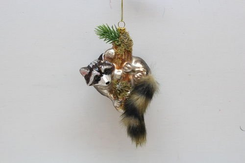 December Diamonds Raccoon on Branch Glass Christmas Hanging Ornament