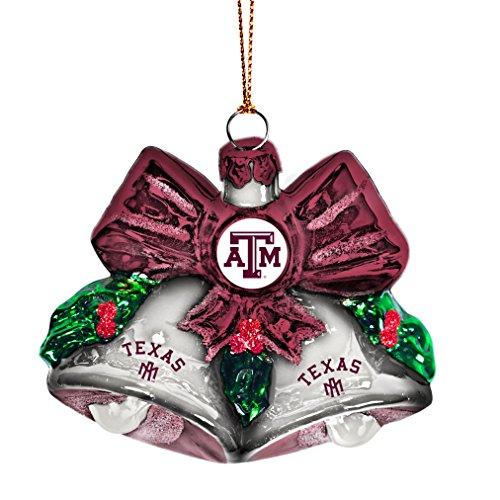 NCAA Texas A&M Aggies Glitter Bells Ornament, Green, 3″ x 3″
