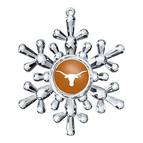 NCAA Texas Longhorns Traditional Snowflake Ornament, 4.5″, Clear