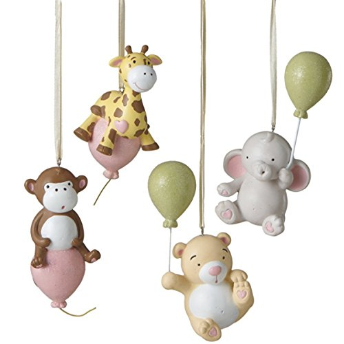 Animals with Balloons Assorted Ornaments (Set of 4)