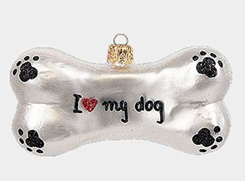 I Love My Dog Paw Print Bone Polish Glass Christmas Ornament Decoration