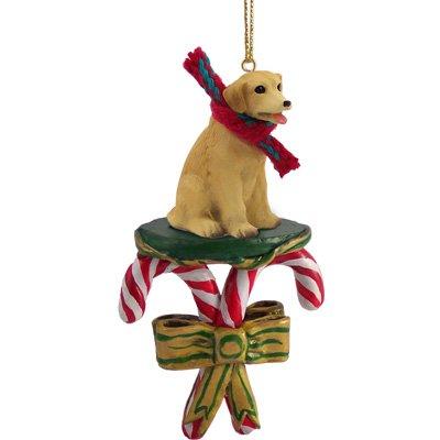 Yellow Labrador Retriever Candy Cane Christmas Ornament by Conversation Concepts