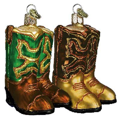 Old World Christmas Pair Of Cowboy Boots Glass Blown Ornament