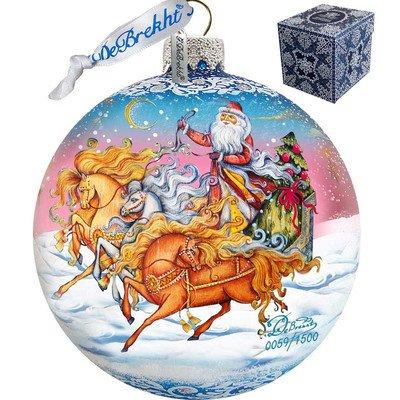 G. Debrekht Limited Edition Sleigh Ride Glass Ball Ornament, 5.5″