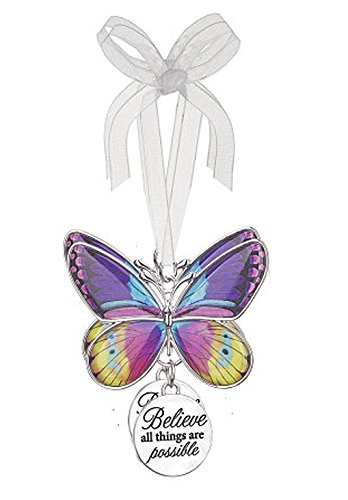 Believe All Things Are Possible Metal Butterfly Ornament – By Ganz
