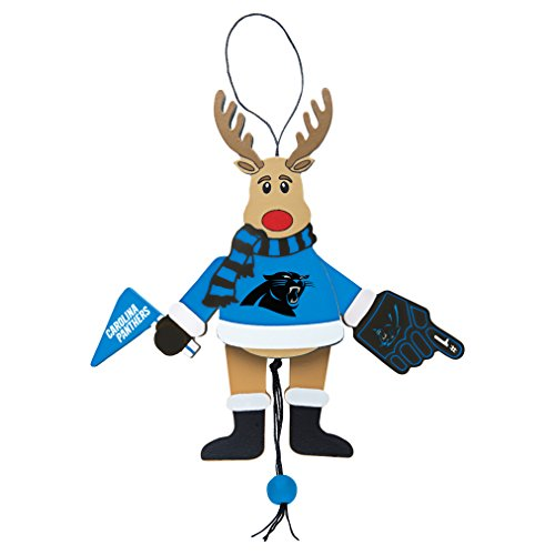NFL Carolina Panthers Wooden Cheer Ornament, Brown, 5.25″