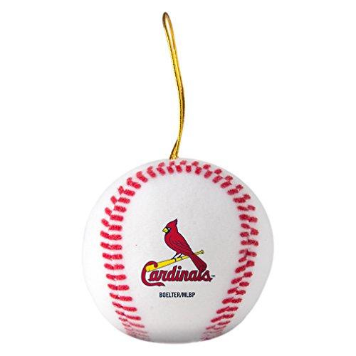MLB St. Louis Cardinals Plush Ball Ornament, 3″, White
