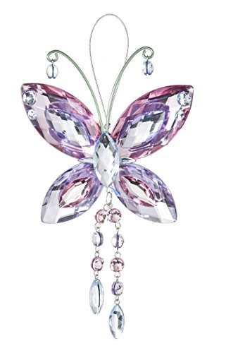 Crystal Butterfly Sun Catcher / Ornament – Light pink/lavender/clear