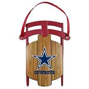 NFL Dallas Cowboys Football Metal Sled Christmas Ornament