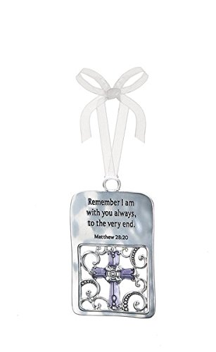 Ganz 2.75″ Scripture Ornament with White Ribbon For Hanging – I Am With You Always
