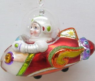 December Diamonds Young BOY in an AIRPLANE SPACESHIP Glass Ornament. Beautiful Fun ornament for a child to admire!