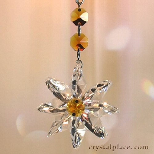 Amazon Lily Collection Light Amber and Clear Crystal Ornament, Suncatcher Made with Genuine Swarovski Crystal By CrystalPlace