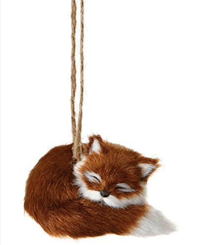 3.25″ Furry Forest Friends Red Sleeping Fox Wildlife Christmas Ornament