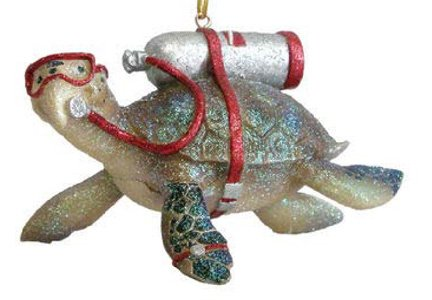 Scuba Diving Tortuga Sea Turtle Christmas Holiday Ornament December Diamonds