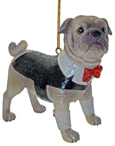 December Diamonds Spencer the Pug in Tuxedo Christmas Ornament- Ready to PArty!!!