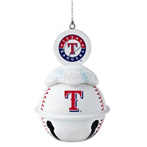 MLB Texas Rangers Metal Baseball Bell Ornament, 2″, White